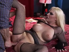 Blonde With Big Tits Gets Dick In Her Hairy Pussy